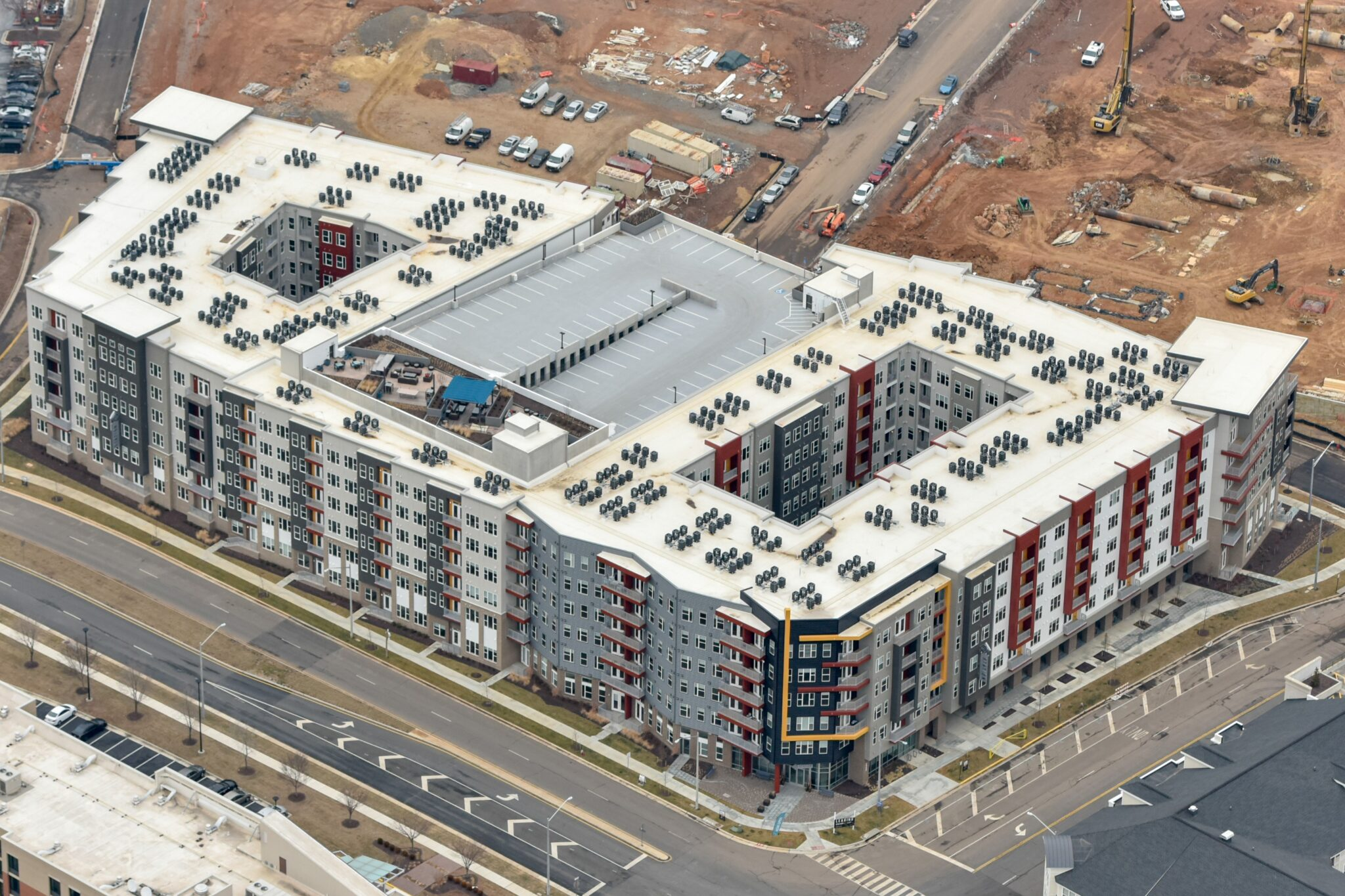 Dulles Station Parcel apartment complex in Herndon, Virginia as seen from above.