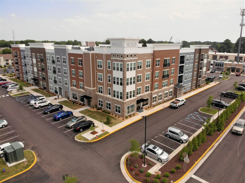 Aerial image of the Nexus apartments located in Virginia Beach, Virginia