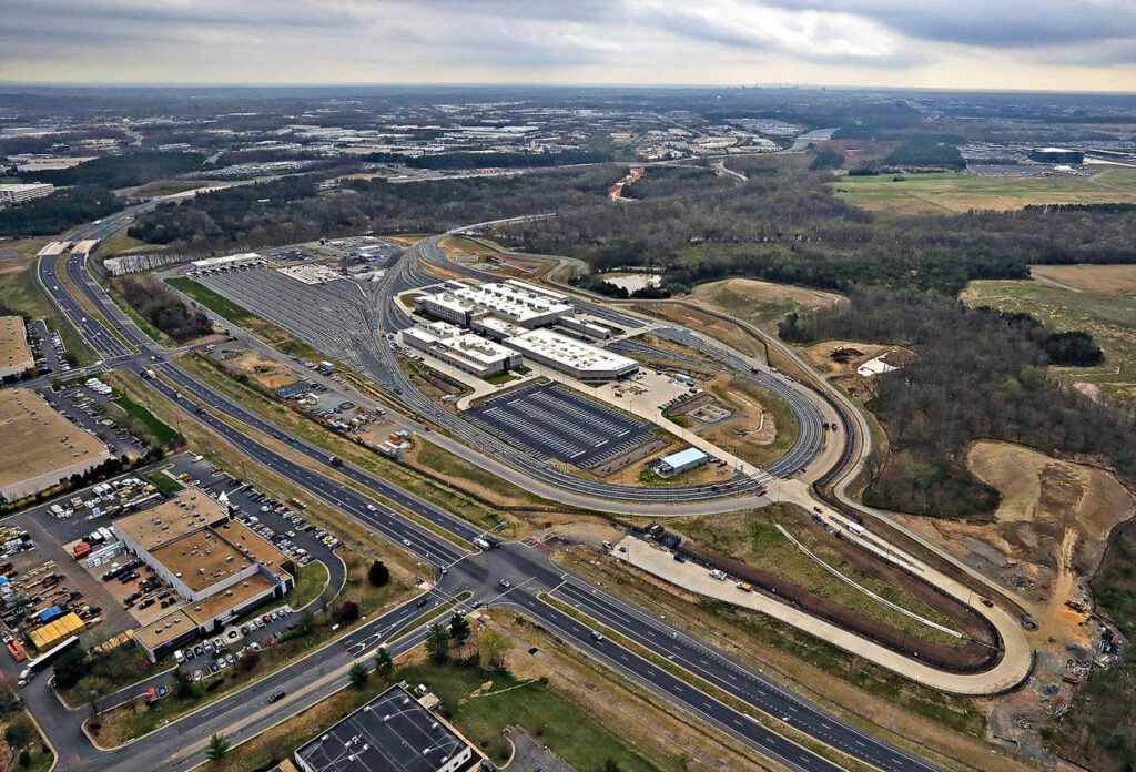 Aerial image of the Dulles Rail Yard and maintenance facility